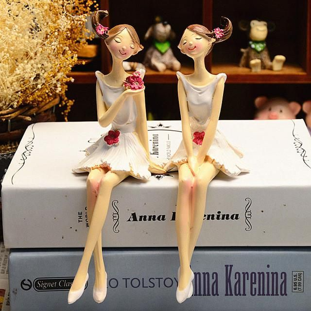 2pcs Resin Flower Fairy Doll Model Home Desktop Statue Decoration Figurines Gift for Girl Figures Furnishing Ornaments Toy - 10 MINUS