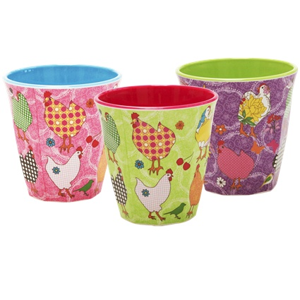 Melamine Cup Two Tone with Hen Print in Assorted Colours - Rice A/S