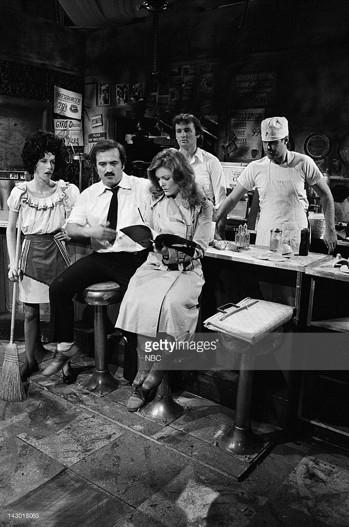 Laraine Newman as Sandy, John Belushi as George, Jane Curtin as Mrs. Larrimore, Bill Murray as Niko, Dan Aykroyd as Pete during the 'The Olympia Cafe' skit on May 26, 1979 - Photo by:
