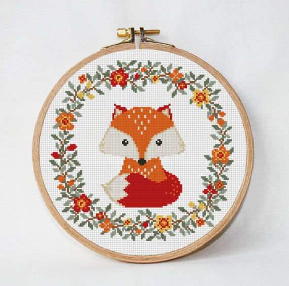 Fox cross stitch pattern baby Nursery decor wreath flowers cross stitch Animals Woodland unique baby gift needlecraft Instant Download