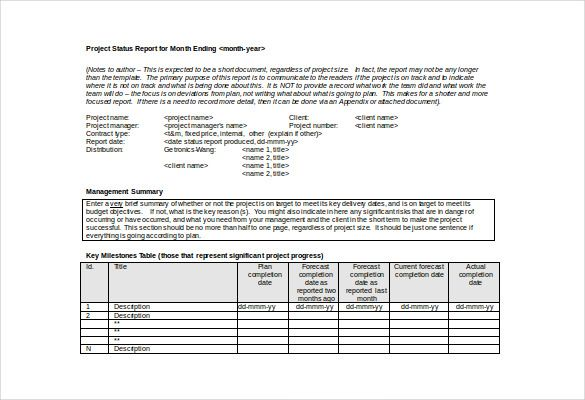 10 Monthly Report Templates Report Template Project Status Report