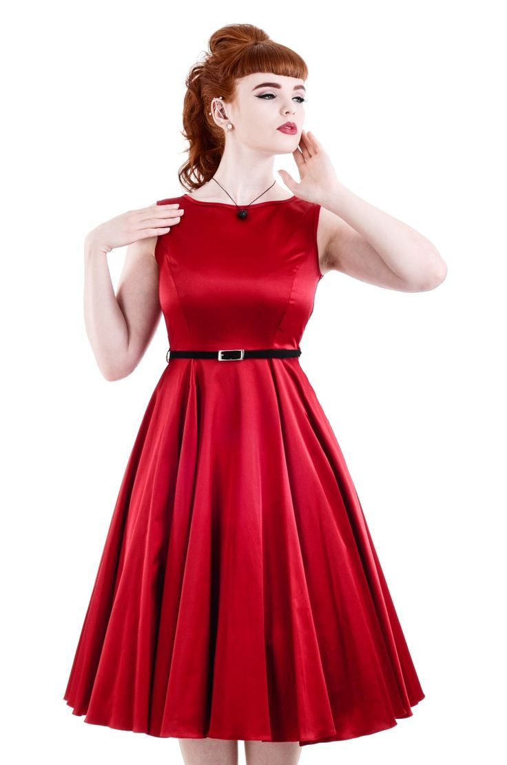 Lady V London Vintage Clothing. The Red Hepburn Dress - £45. Made in London.