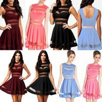 Sexy  Dress Slim Skater Sheer Mesh Zip Striped Party Cocktail Club Mini  Dresses 4 Color