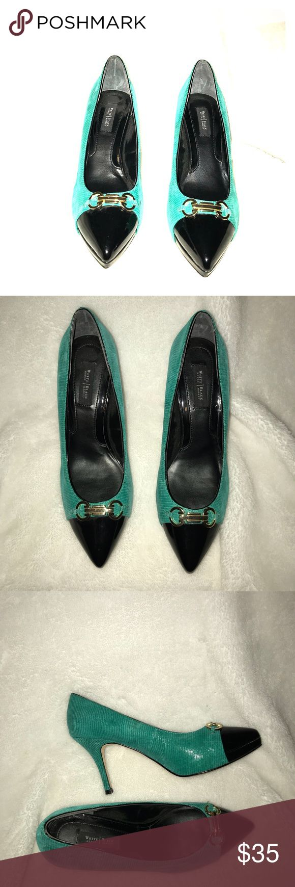 White House Black Market Green Snakeskin Pumps For sale:White House Black Market WHBM Green Snakeskin Pointed Toe Pumps/Heels with Black Patent and Goldtone Horseshoe Details.Size 8M. Excellent pre-owned condition. Interested? White House Black Market Shoes Heels