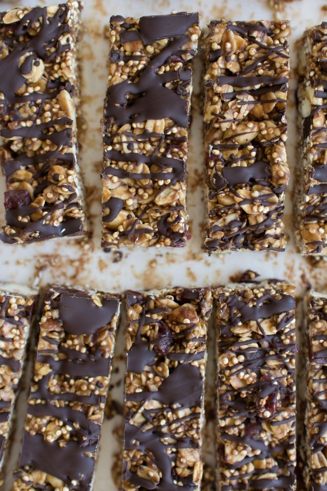 No Bake Popped Quinoa Granola Bars with Cashews, Peanut Butter and Chocolate - Lauren Caris Cooks