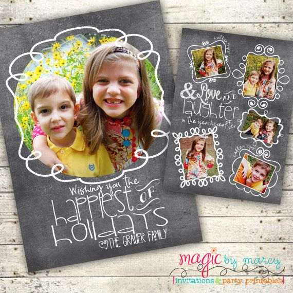 Custom and quick Chalkboard Doodle Merry Christmas Card Printable Photo by Magic by Marcy, $20.00