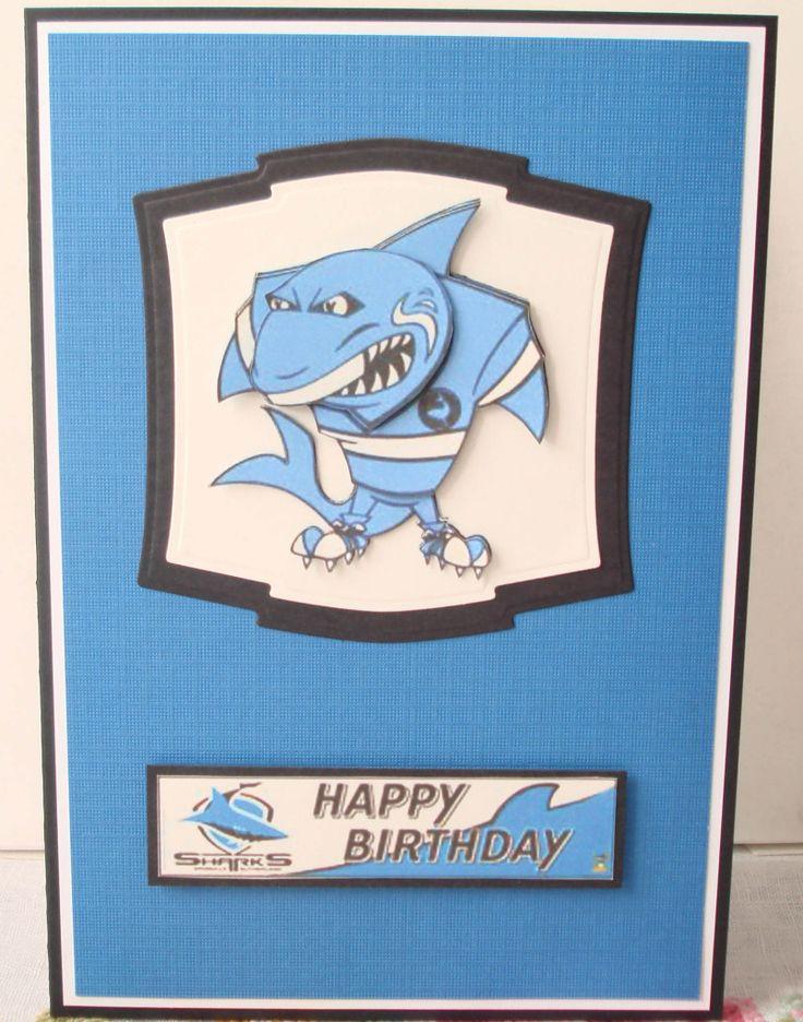 Cronulla sharks themed birthday card