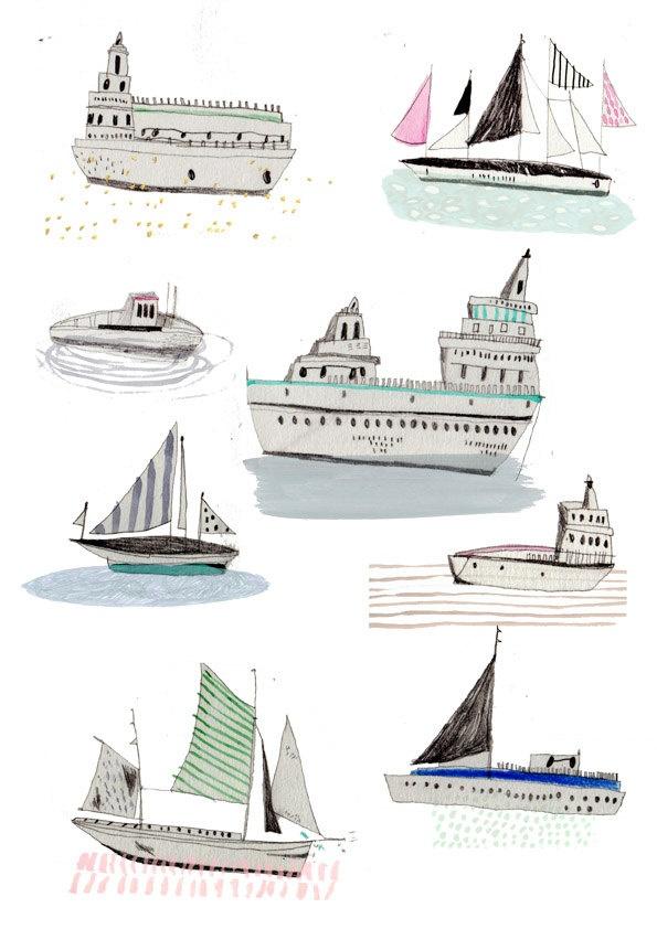 Illustration. Boats. Limited edition art prints. Art Print. Drawing..