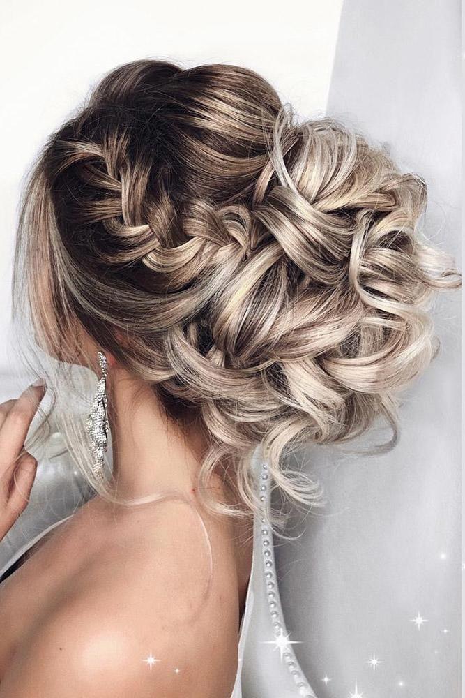 elstile wedding hairstyles high curly bun with side braids,  #braids #curly #els…