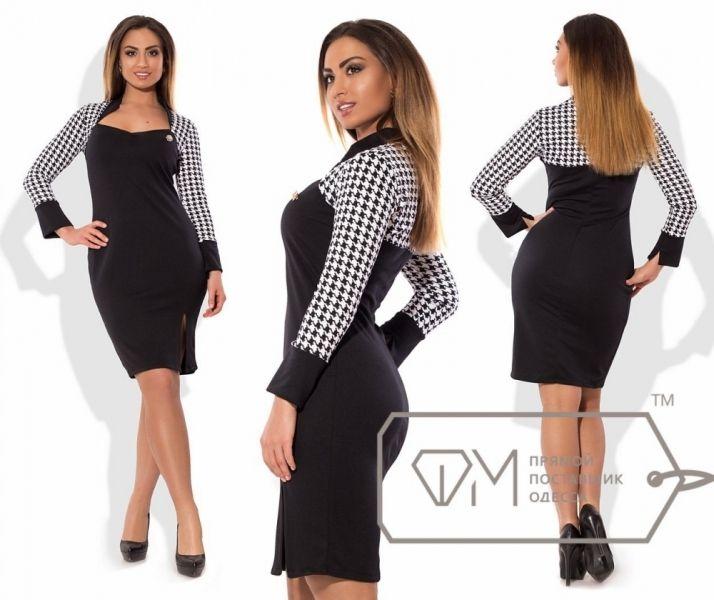 Платье батал деловой стиль с разрезом на бедре изящное геометрический рисунок