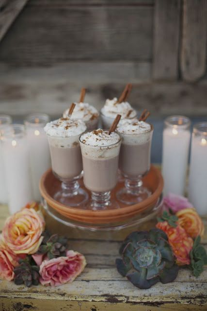 mexican hot chocolate (and more really pretty spanish wedding inspiration here including papel picado, succulents, jarritos, and margarita cupcakes) in a soft neutral palate.