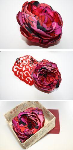 "Брошь-цветок ""Малиновый щербет"". Flower from fabric, brooch"