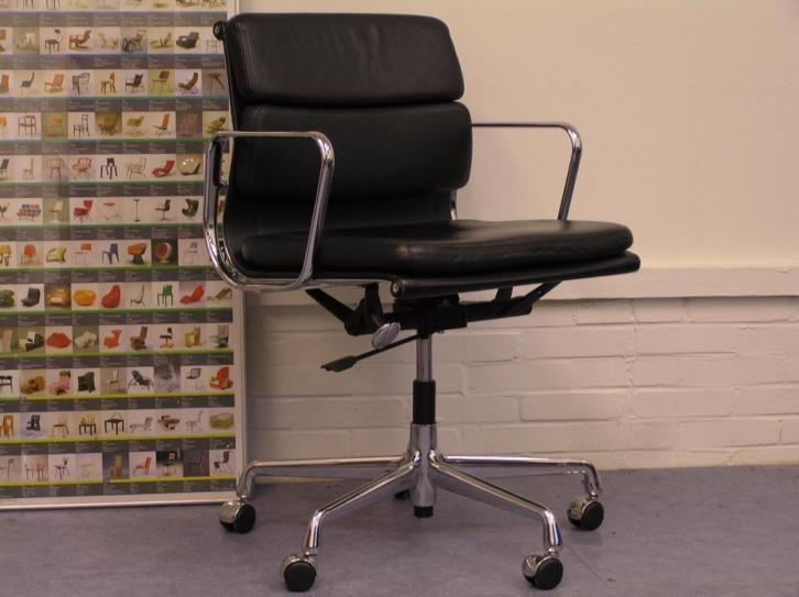 ≥ Drie Vitra Eames EA 217 , chroom, zwart leder. - Bureaus en Bureaustoelen - Marktplaats.nl