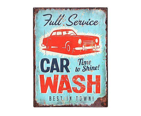 Panneau décoratif CAR WASH métal, multicolore - 30*40