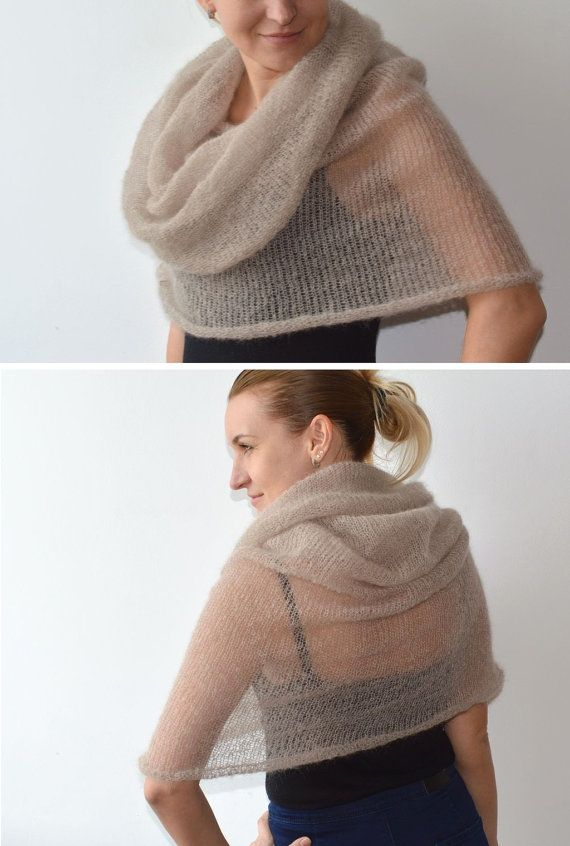 Beige scarf knit mohair infinity scarf knitted by TaramayKnit
