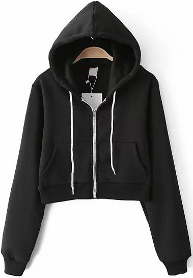 Sudadera Crop con capucha manga larga-negro 20.55