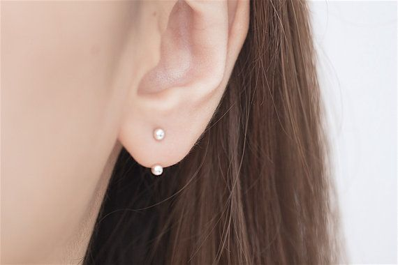A b o u t - Minimalist silver round dot ear jacket.  *All earrings are wrapped in gift boxes as a gift to yourself or your loved ones. *  - M