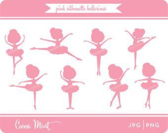 Silueta bailarina Clip Art por cocoamint en Etsy