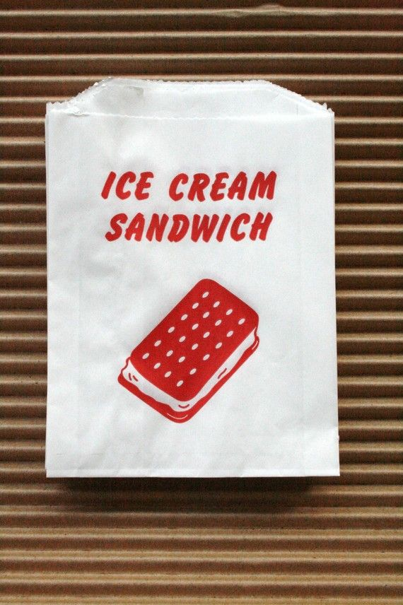 Vintage Style Ice Cream Sandwich Bags - Red and White - Gusseted 4.5 x 1 x 5.75 Inches - set of 25 on Etsy, $3.25