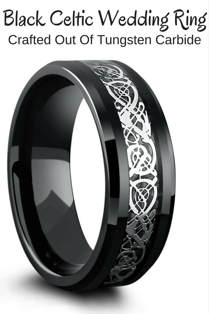 Product Description Beautiful Black Celtic Wedding Ring Crafted Out Of  Tungsten Carbide Designed With A