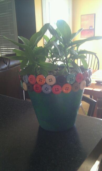 Clay Flower Pot Painted And Buttons