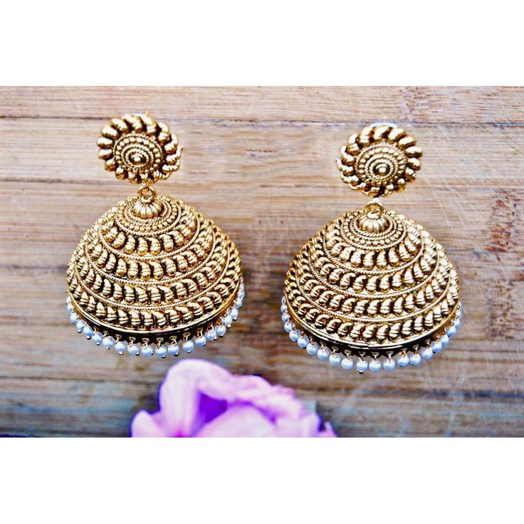 Big Bold Gold Antique Kairi Jhumkas