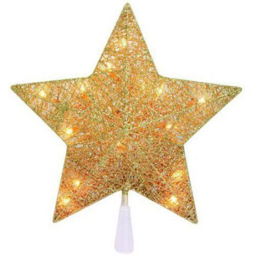 Star Tree Topper Lighted Glitter Gold Thread Christmas Decoration Holiday NEW