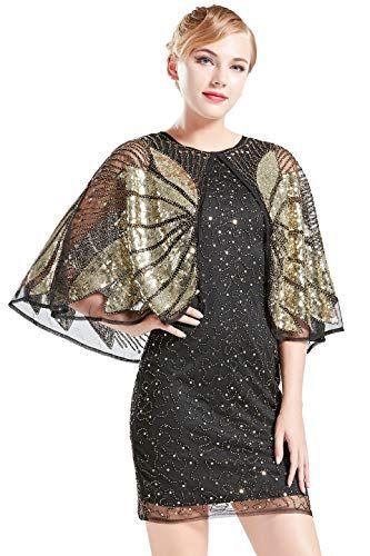 3e5e205cb134be Coucoland 1920s Kleid mit Stola Ärmel Damen Flapper Kleid Gatsby Cocktail  Party Damen 20er Jahre Kostüm Kleid (Schwarz Gold XL)