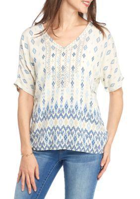 Ruby Rd Ecru Multi Blue Travelers Dolman Sleeve Embellished Border Print Blouse