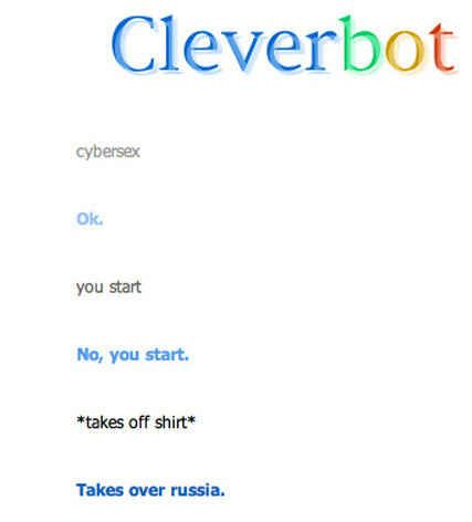 That most people aren't thinking big enough when they have cybersex.   26 Cleverbot Conversations That Are Guaranteed To Make You Laugh