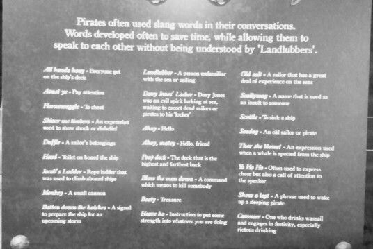 Pirate phrases. Pirate exhibition in The Word, South Shields