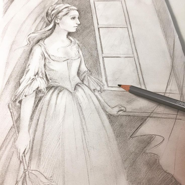 "Eeva Nikunen (@eevanikunen) on Instagram: ""Here is a sketch of Cinderella looking out a window ✨ I can't wait to paint something Cinderella…"""