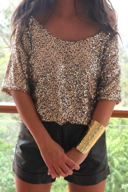 glitz: Cuffs Bracelets, Sequins Shirts, Black Shorts, Leather Shorts, Gold Cuffs, Outfit, Gold Sequins, Sequins Tops, New Years
