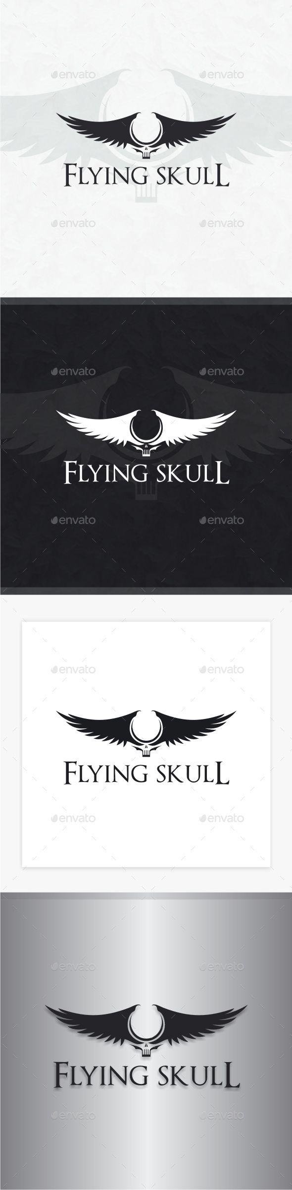 Flying Skull Logo — Photoshop PSD #skull #studio • Available here → https://graphicriver.net/item/flying-skull-logo/8861129?ref=pxcr