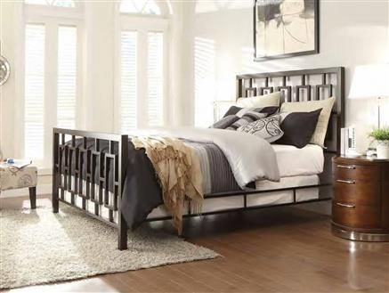 zelda traditional brushed brown metal king bed
