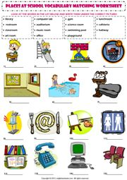 places at school vocabulary matching exercise worksheet icon