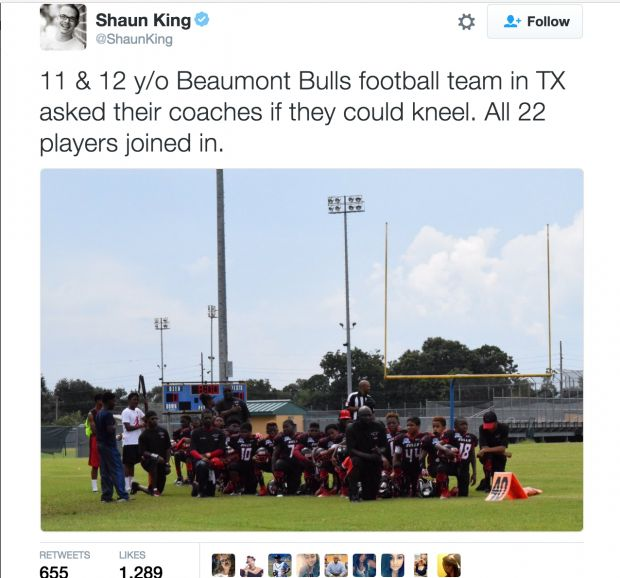 Team Of 11 And 12 Year Old Football Players Kneel During National Anthem - The…