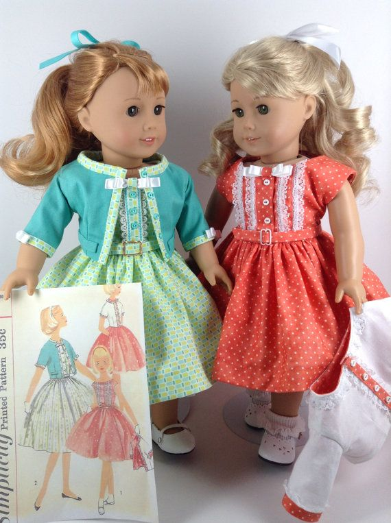 American Girl 18-inch Doll Clothes - 1950's Patterned Dress in Colors of Turquoise, Yellow-Green, and White, Jacket, & Petticoat