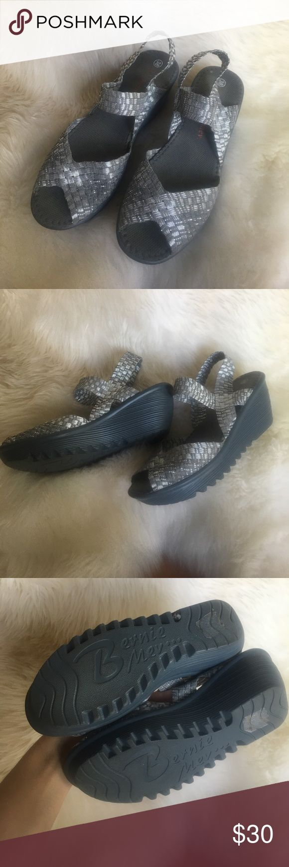 Silver wedge sandal Minimally worn, very comfortable. bernie mev. Shoes Sandals