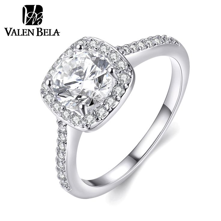 VALEN BELA White Gold Plated Engagement Ring Cubic Zircon Anelli Donna Wedding Rings for Women JZ5230
