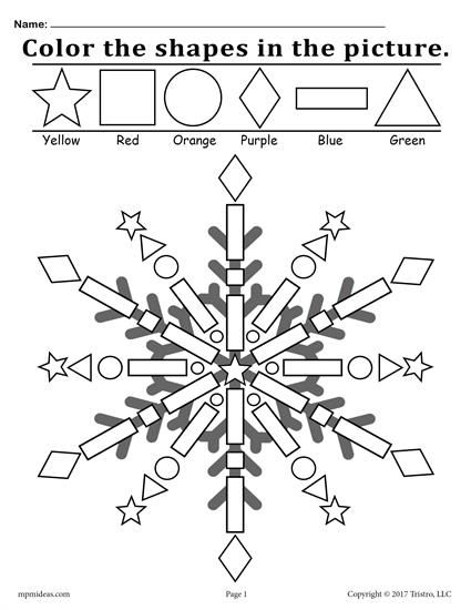 FREE snowflake shapes coloring page. Great for toddler and preschool color recognition, shape recognition, and fine motor skills. Get this winter themed shapes worksheet here --> http://www.mpmschoolsupplies.com/ideas/7447/color-the-shapes-in-the-snowflake-free-printable-worksheet/