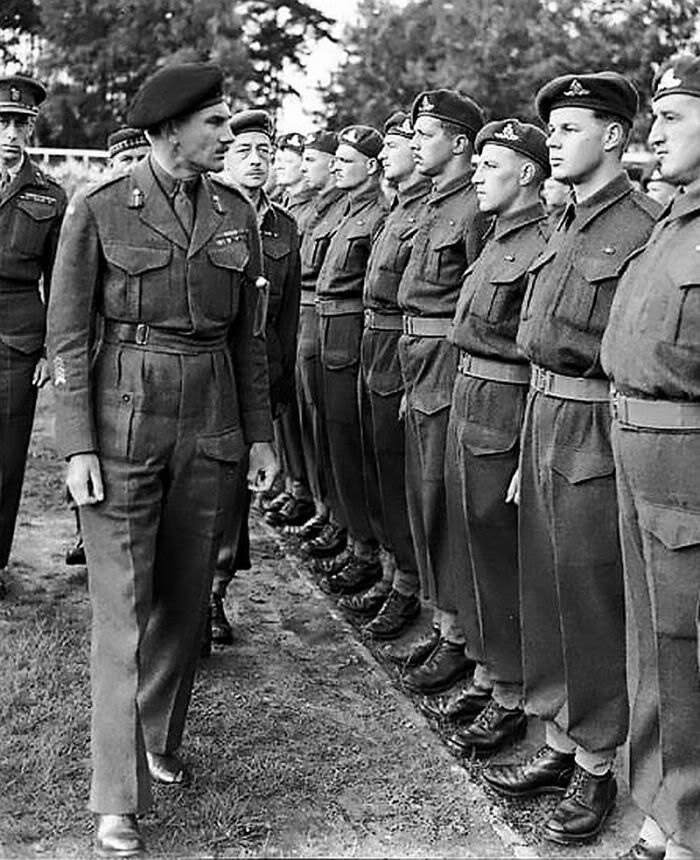Canadian Gen. Guy Simonds inspecting Canadian troops, Germany May 45