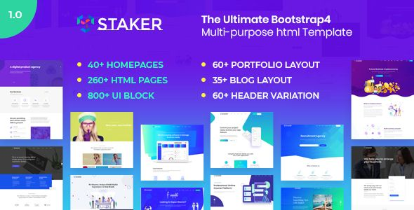 Staker Responsive Multi Purpose Html5 Template Created With Bootstrap 4 It S Highly Creative Design Fast Loading Search Engine Optimized