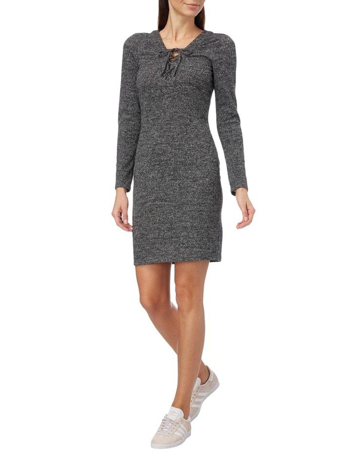 ONLY Kleid mit V-Ausschnitt und Schnürung in Grau / Schwarz online kaufen (9557369)   P&C Online Shop