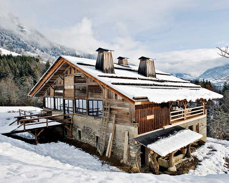 "Alpine Dream Cabin. French Alps, near Megeve. Belgian decorator Lionel Jadot was commissioned to transform this former farmhouse under a ""specification"" of their owners forced to respect their past. The villa has two levels. At the bottom are the bedrooms and the top floor is a huge open-plan, with ceiling height of 12 m, the mountain opened by large windows that continue on a terrace."