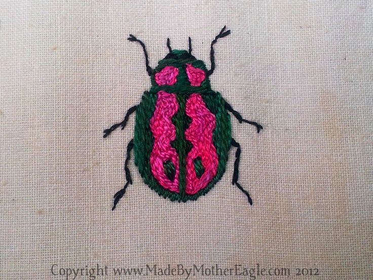 Embroidered beetle by MadeByMotherEagle