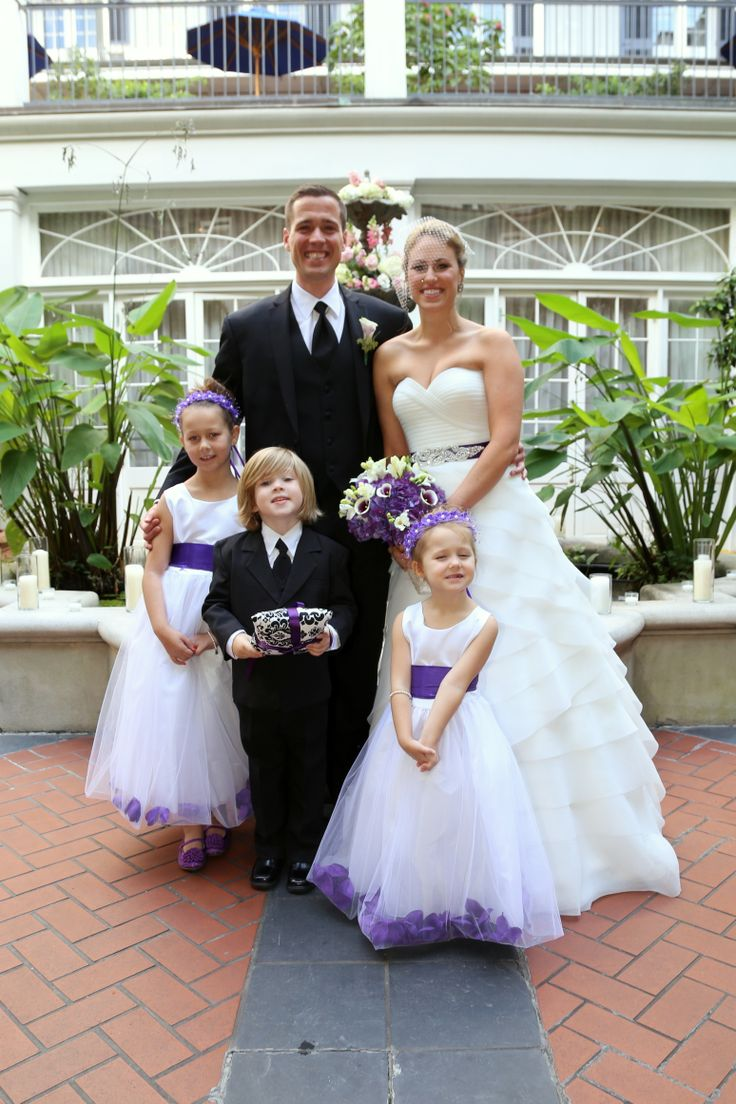 Purple Flower Girls Dresses And Ring Bearer Suit Get