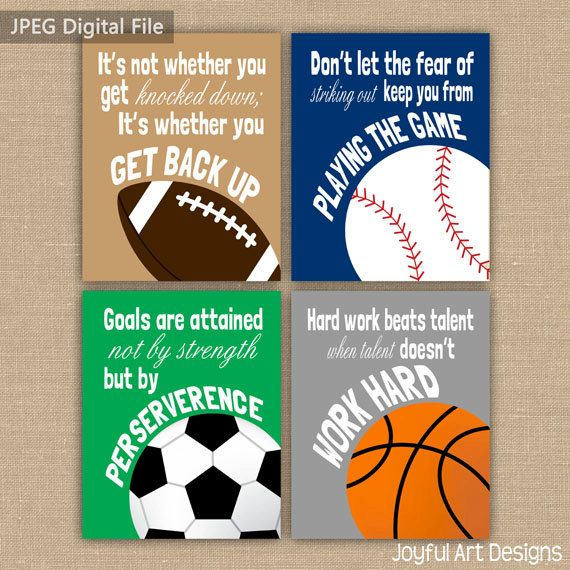 Boy Room Sports Decor. Set of 4 Motivating Sports Quotes PRINTABLE Signs. Football Soccer Baseball Basketball Wall Art. Boy Bedroom Decor. 4 DIGITAL files.
