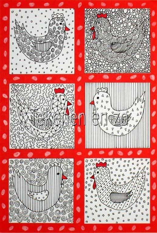 Tekenen en zo: Kippen met patroontjes