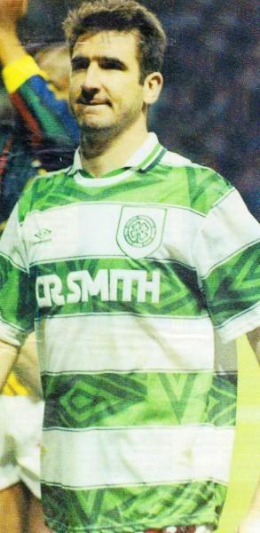 Eric Cantona in a Celtic short, pre-season 1994.